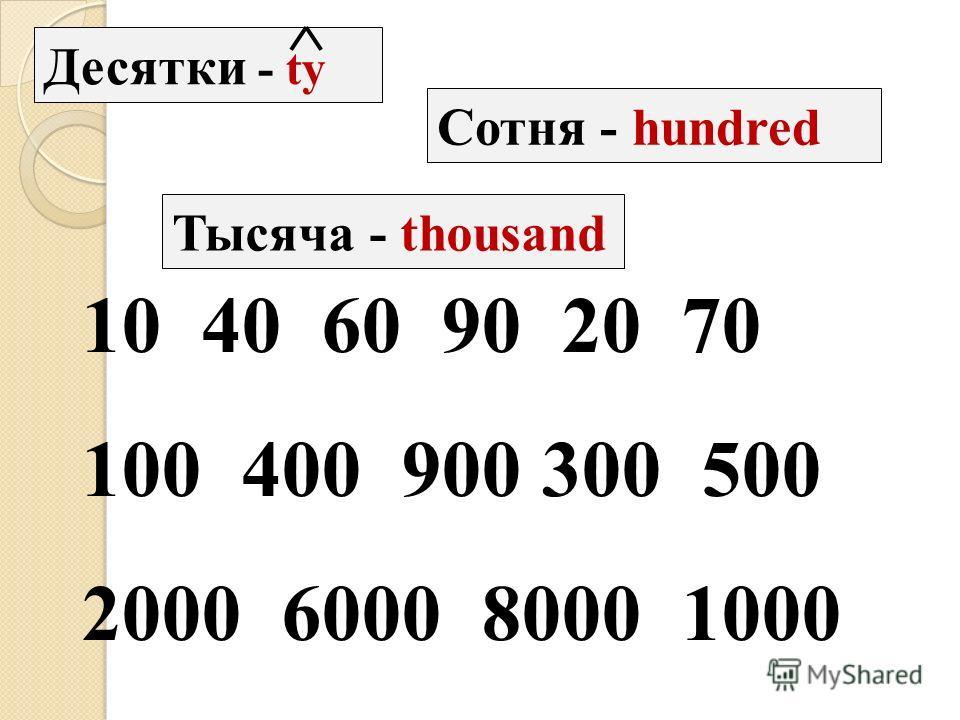 Десятки - ty Сотня - hundred Тысяча - thousand 10 40 60 90 20 70 100 400 900 300 500 2000 6000 8000 1000