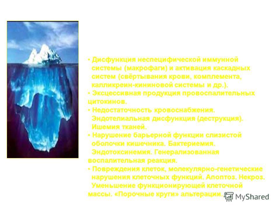 Основные факторы пато- и морфогенеза полиорганной недостаточности (их различная последовательность и разные комбинации): Дисфункция неспецифической иммунной системы (макрофаги) и активация каскадных систем (свёртывания крови, комплемента, калликреин-