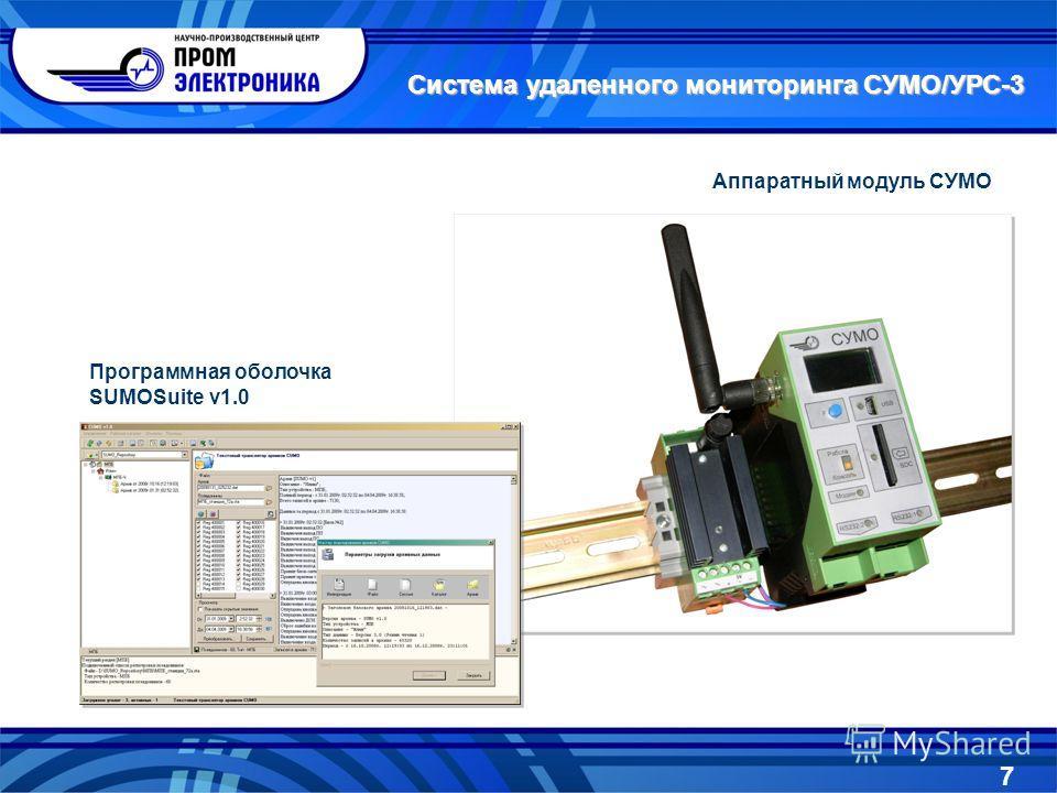 Система удаленного мониторинга СУМО/УРС-3 Аппаратный модуль СУМО Программная оболочка SUMOSuite v1.0 7