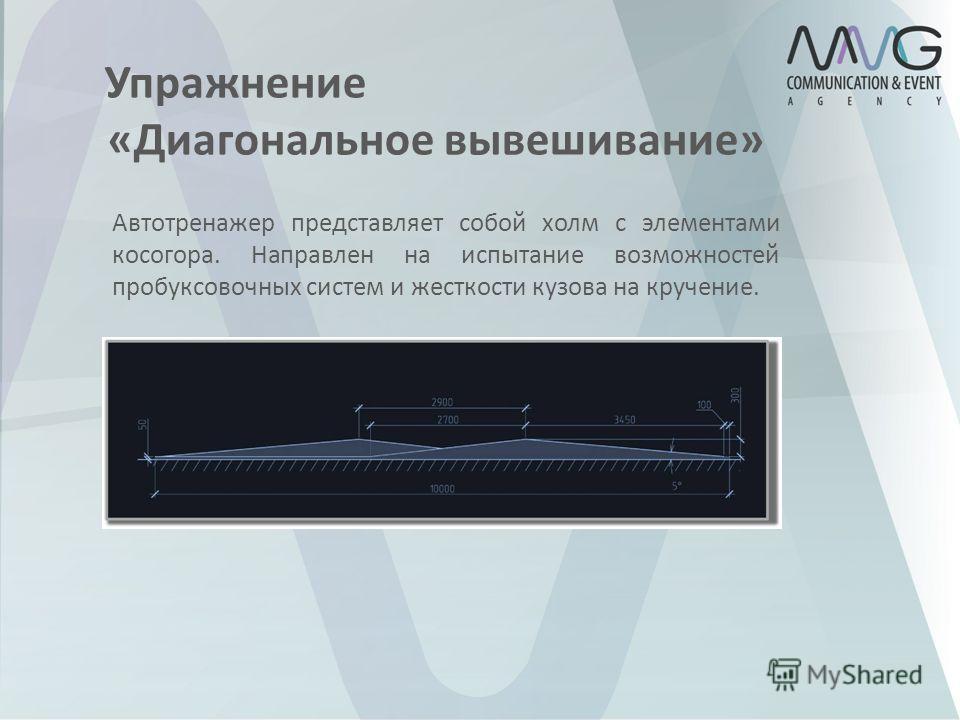 Автотренажер представляет собой холм с элементами косогора. Направлен на испытание возможностей пробуксовочных систем и жесткости кузова на кручение. Упражнение «Диагональное вывешивание»
