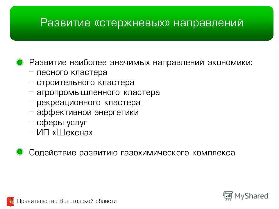 Правительство Вологодской области Развитие «стержневых» направлений Развитие наиболее значимых направлений экономики: - лесного кластера - строительного кластера - агропромышленного кластера - рекреационного кластера - эффективной энергетики - сферы