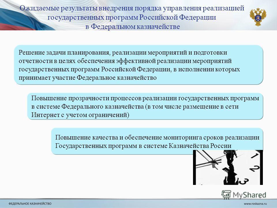 Ожидаемые результаты внедрения порядка управления реализацией государственных программ Российской Федерации в Федеральном казначействе 8 Решение задачи планирования, реализации мероприятий и подготовки отчетности в целях обеспечения эффективной реали