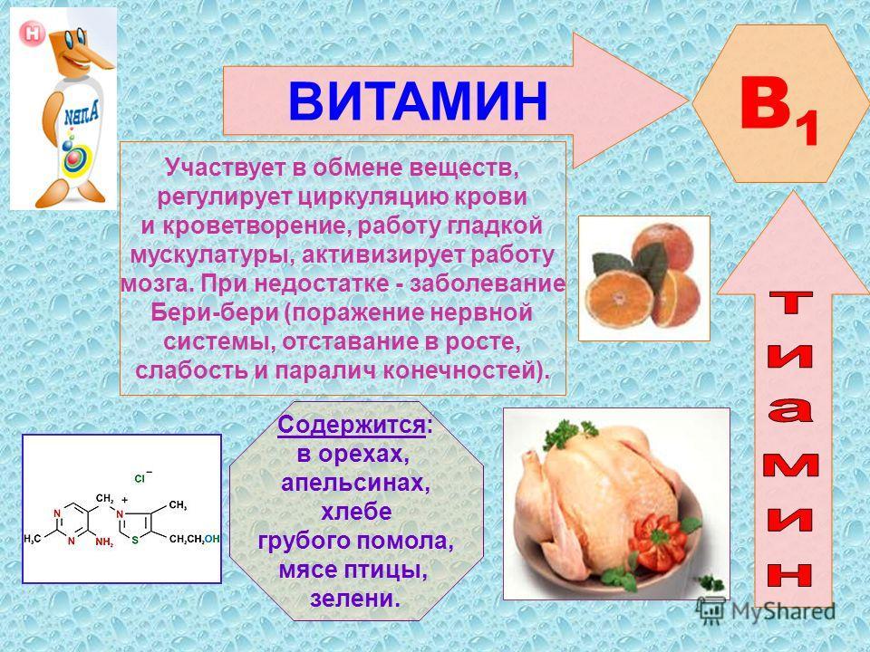 ВИТАМИН B1B1 Участвует в обмене веществ, регулирует циркуляцию крови и кроветворение, работу гладкой мускулатуры, активизирует работу мозга. При недостатке - заболевание Бери-бери (поражение нервной системы, отставание в росте, слабость и паралич кон