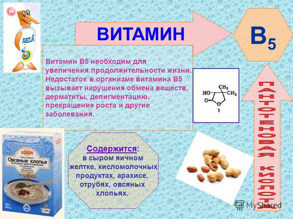 ВИТАМИН Витамин В5 необходим для увеличения продолжительности жизни. Недостаток в организме витамина В5 вызывает нарушения обмена веществ, дерматиты, депигментацию, прекращение роста и другие заболевания. Содержится: в сыром яичном желтке, кисломолоч