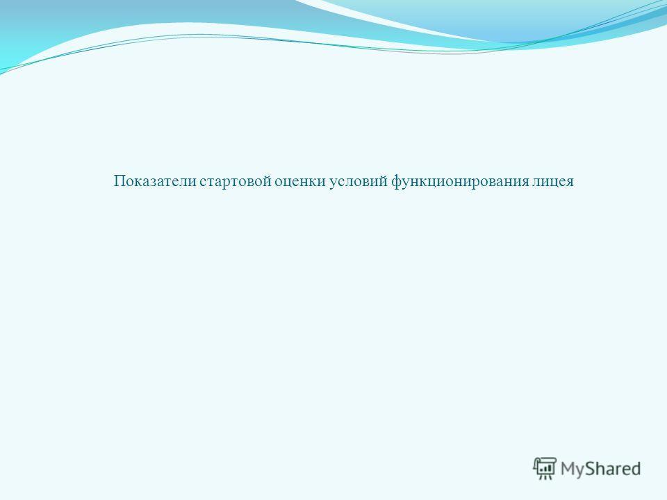 Показатели стартовой оценки условий функционирования лицея