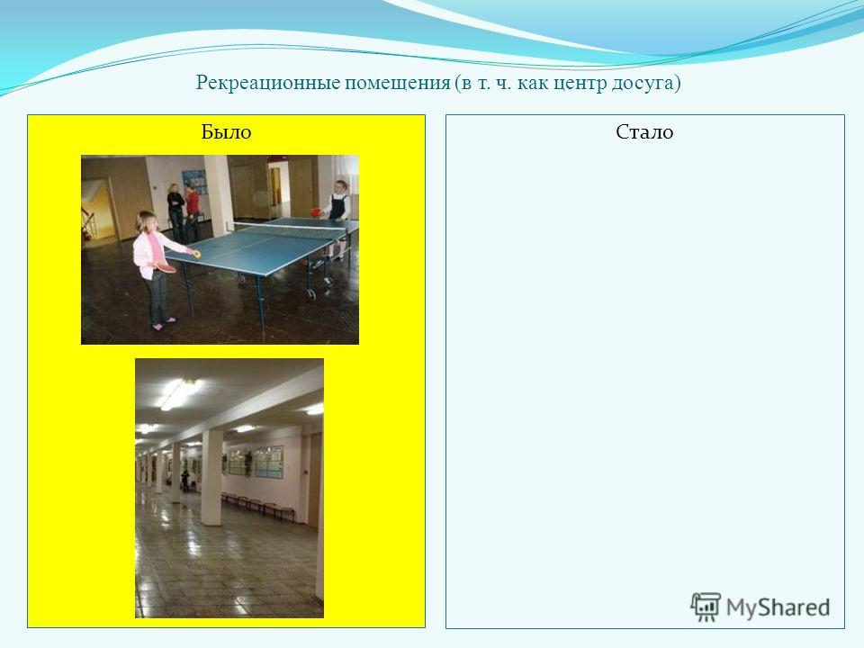 Рекреационные помещения (в т. ч. как центр досуга) БылоСтало