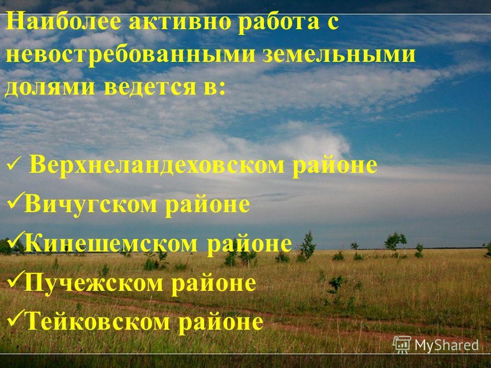 Наиболее активно работа с невостребованными земельными долями ведется в: Верхнеландеховском районе Вичугском районе Кинешемском районе Пучежском районе Тейковском районе