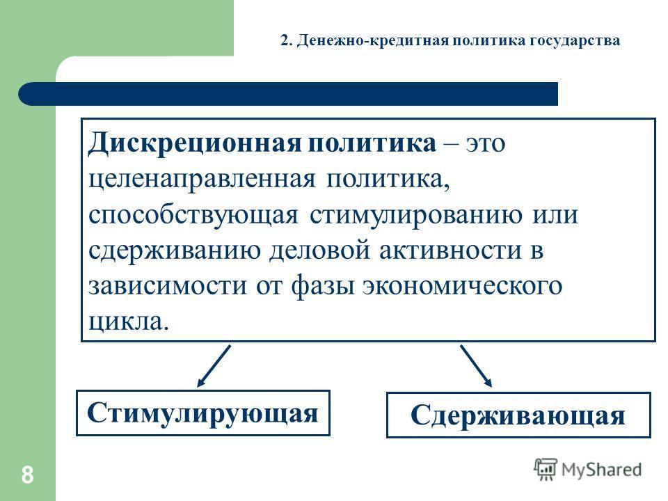 8 2. Денежно-кредитная политика государства Дискреционная политика – это целенаправленная политика, способствующая стимулированию или сдерживанию деловой активности в зависимости от фазы экономического цикла. Стимулирующая Сдерживающая