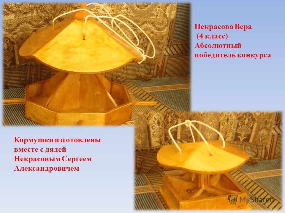Кормушки изготовлены вместе с дядей Некрасовым Сергеем Александровичем Некрасова Вера (4 класс) Абсолютный победитель конкурса