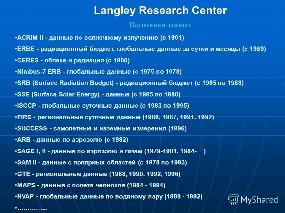 Langley Research Center Источники данных ACRIM II - данные по солнечному излучению (с 1991) ERBE - радиационный бюджет, глобальные данные за сутки и месяцы (с 1989) CERES - облака и радиация (с 1986) Nimbus-7 ERB - глобальные данные (с 1975 по 1978)