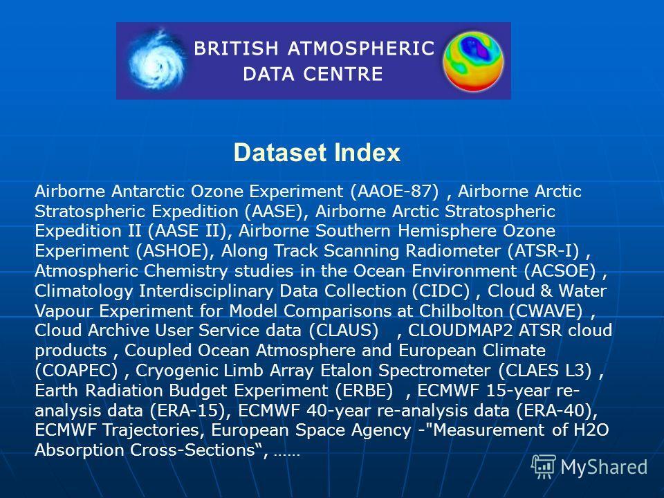 Dataset Index Airborne Antarctic Ozone Experiment (AAOE-87), Airborne Arctic Stratospheric Expedition (AASE), Airborne Arctic Stratospheric Expedition II (AASE II), Airborne Southern Hemisphere Ozone Experiment (ASHOE), Along Track Scanning Radiomete