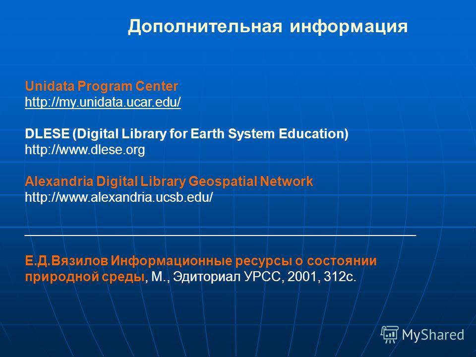 Дополнительная информация Unidata Program Center http://my.unidata.ucar.edu/ DLESE (Digital Library for Earth System Education) http://www.dlese.org Alexandria Digital Library Geospatial Network http://www.alexandria.ucsb.edu/ _______________________