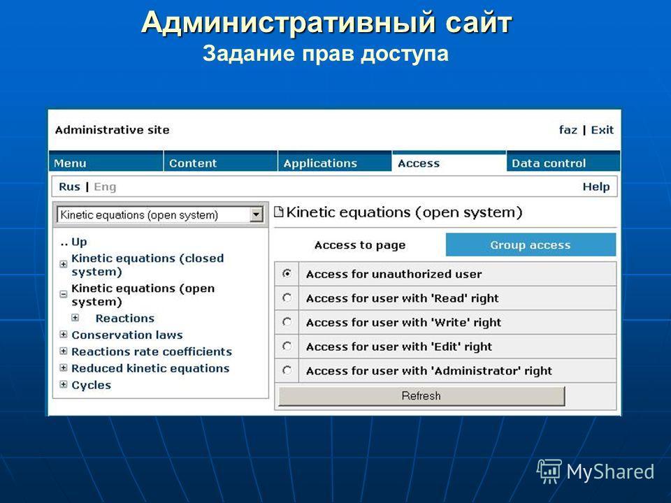 Административный сайт Задание прав доступа