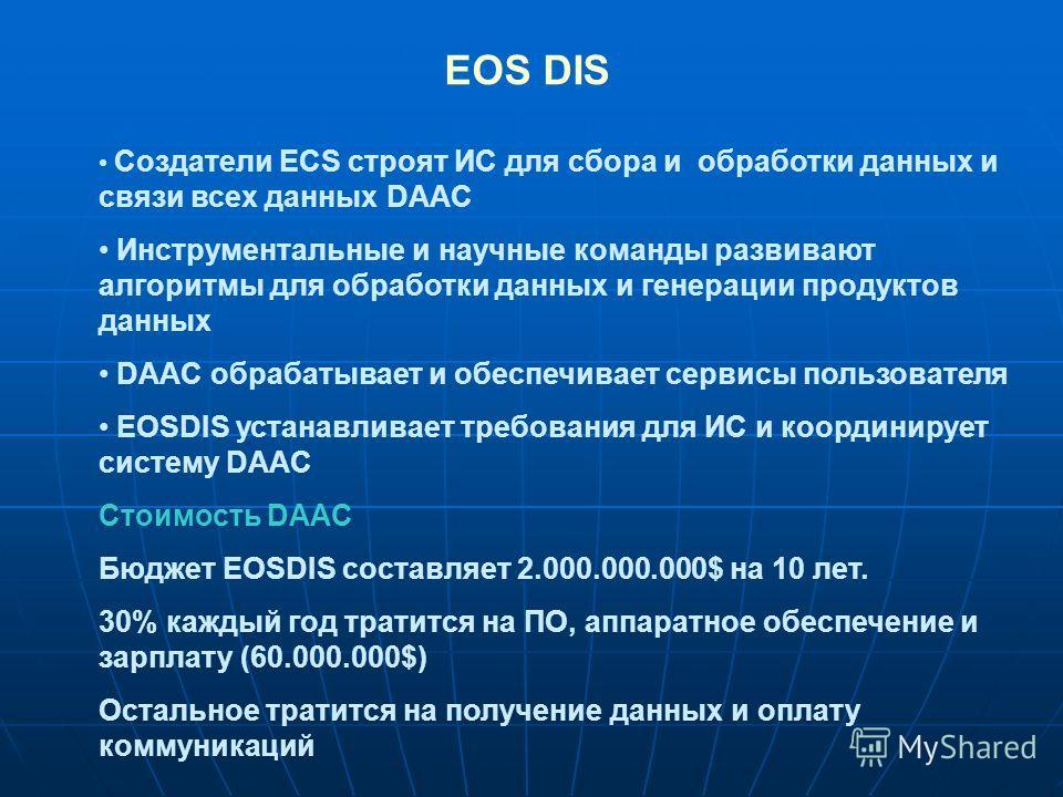 Создатели ECS строят ИС для сбора и обработки данных и связи всех данных DAAC Инструментальные и научные команды развивают алгоритмы для обработки данных и генерации продуктов данных DAAC обрабатывает и обеспечивает сервисы пользователя EOSDIS устана
