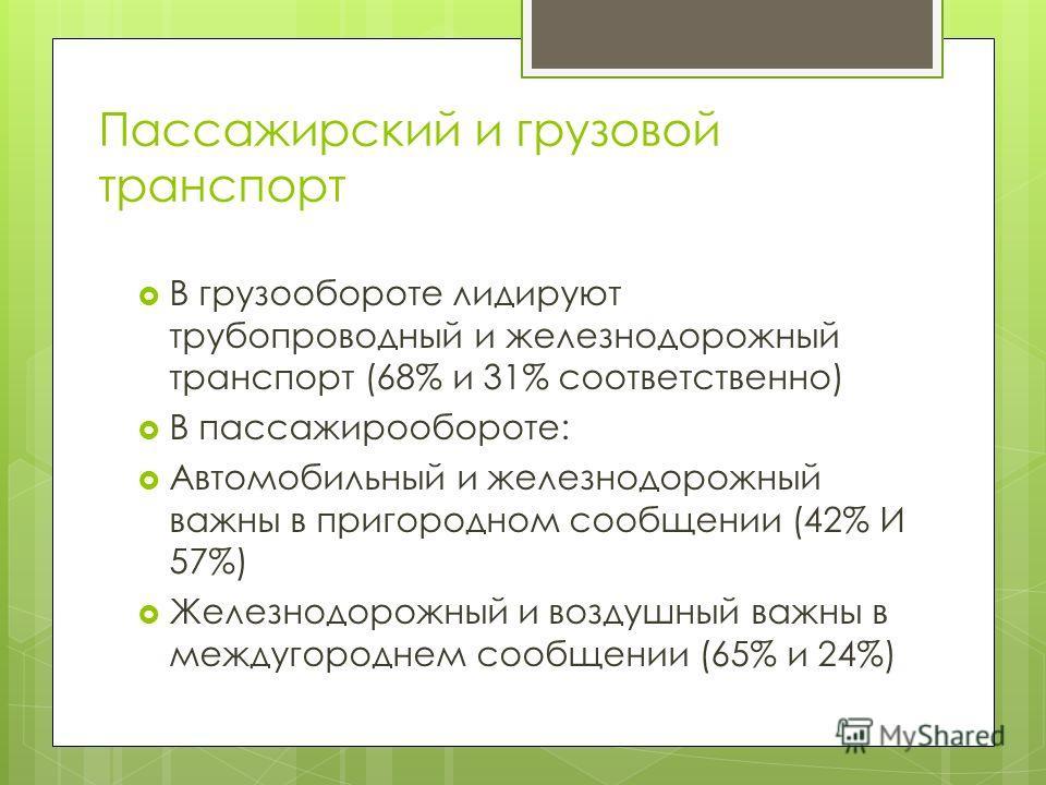 Пассажирский и грузовой транспорт В грузообороте лидируют трубопроводный и железнодорожный транспорт (68% и 31% соответственно) В пассажирообороте: Автомобильный и железнодорожный важны в пригородном сообщении (42% И 57%) Железнодорожный и воздушный