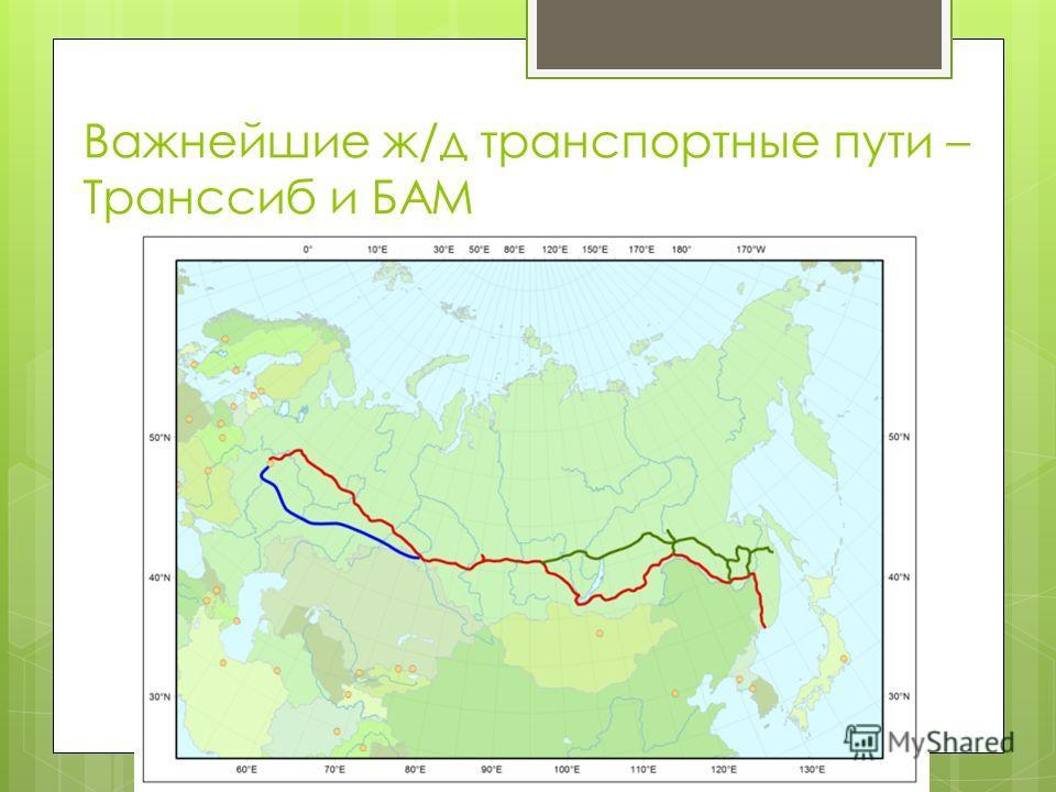 Важнейшие ж/д транспортные пути – Транссиб и БАМ
