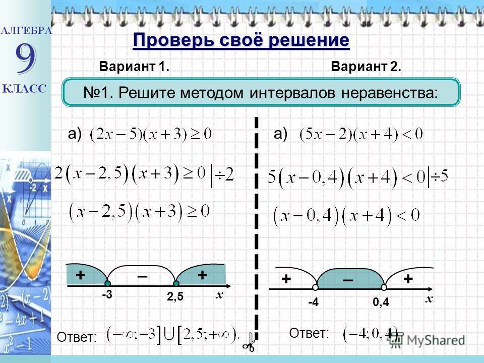 Проверь своё решение 1. Решите методом интервалов неравенства: Вариант 1. Вариант 2. а) x x 0,4-4 Ответ: 2,5 -3 ++ – ++ – Ответ: