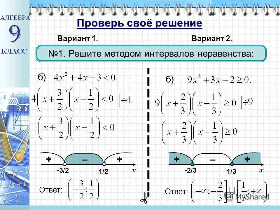 Проверь своё решение 1. Решите методом интервалов неравенства: Вариант 1. Вариант 2. Ответ: б) x 1/2 -3/2 ++ – x 1/3 -2/3 ++ – Ответ: