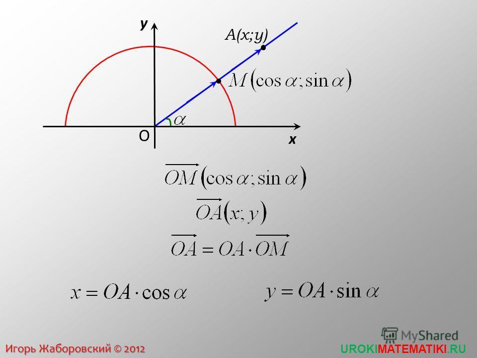 Построить угол По определению координаты точки длина радиуса окружности ОА=3, у А =2 x y O 3 уАуА А1А1 А2А2 По определению координаты точки длина радиуса окружности ОА=3, х А =2 x y O 3 хАхА А
