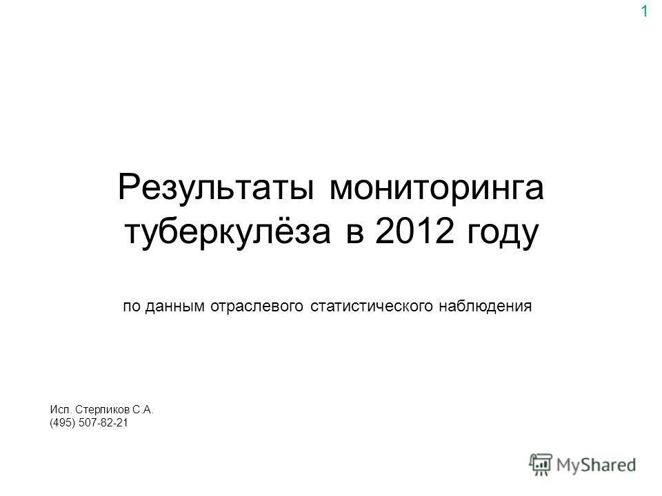 Результаты мониторинга туберкулёза в 2012 году по данным отраслевого статистического наблюдения 1 Исп. Стерликов С.А. (495) 507-82-21