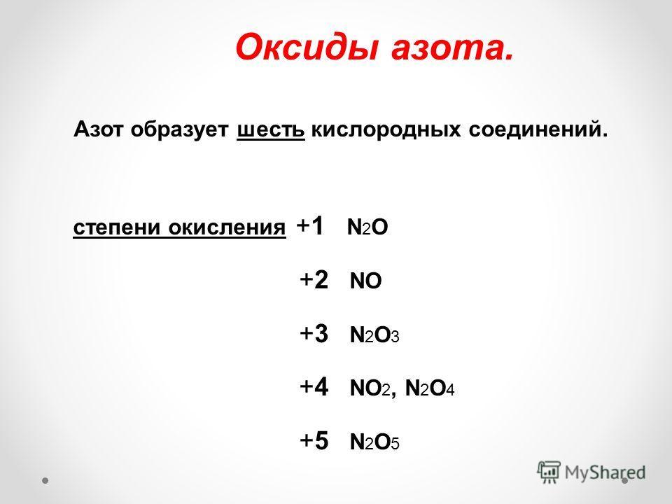 Оксиды азота. Азот образует шесть кислородных соединений. степени окисления +1 N 2 O +2 NO +3 N 2 O 3 +4 NO 2, N 2 O 4 +5 N 2 O 5