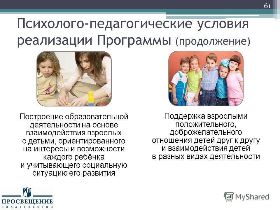 61 Построение образовательной деятельности на основе взаимодействия взрослых с детьми, ориентированного на интересы и возможности каждого ребёнка и учитывающего социальную ситуацию его развития Поддержка взрослыми положительного, доброжелательного от