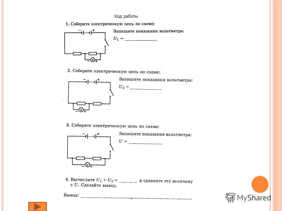 П РАВИЛА ЭЛЕКТРОБЕЗОПАСНОСТИ 1. Собирай цепь по схеме. Не допускайте пересечения проводов. 2. Соблюдай правила подключения электроизмерительных приборов и их полярность. 3. Ключ замыкай в последнюю очередь. 4. Не касайся оголенных частей цепи. 5. Пом