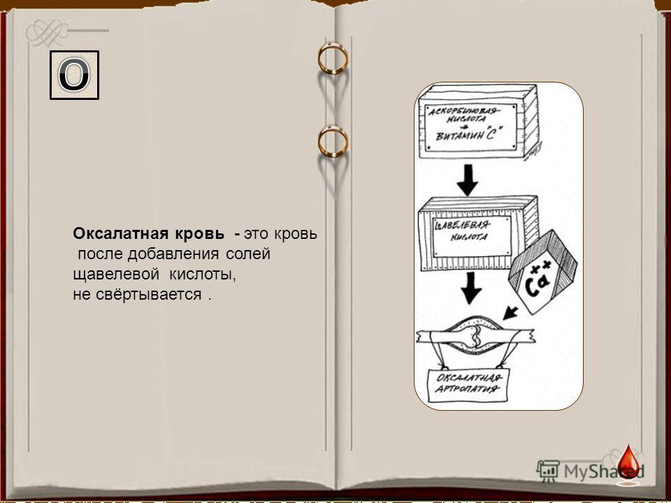 Оксалатная кровь - это кровь после добавления солей щавелевой кислоты, не свёртывается.