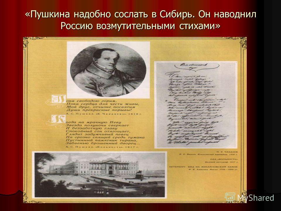 «Пушкина надобно сослать в Сибирь. Он наводнил Россию возмутительными стихами»
