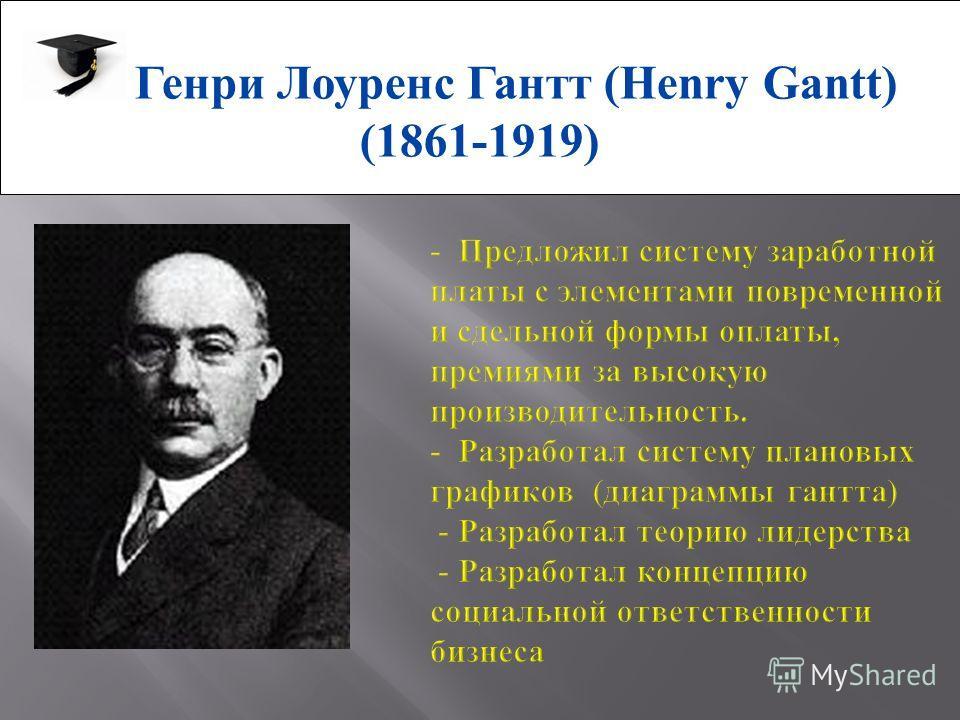 Генри Лоуренс Гантт (Henry Gantt) (1861-1919)
