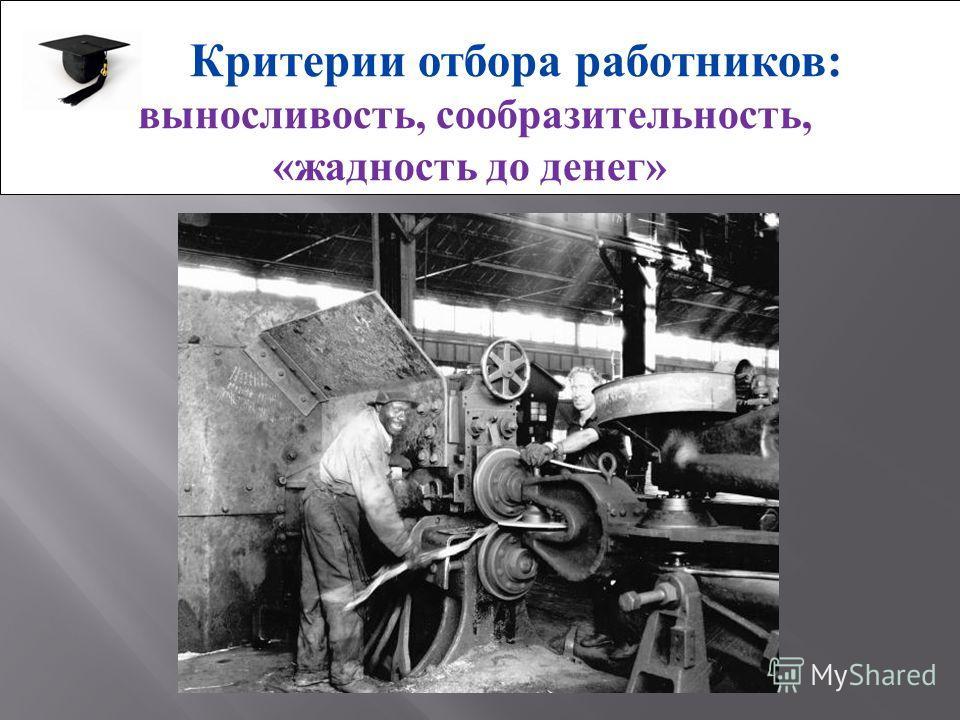 Критерии отбора работников: выносливость, сообразительность, «жадность до денег»