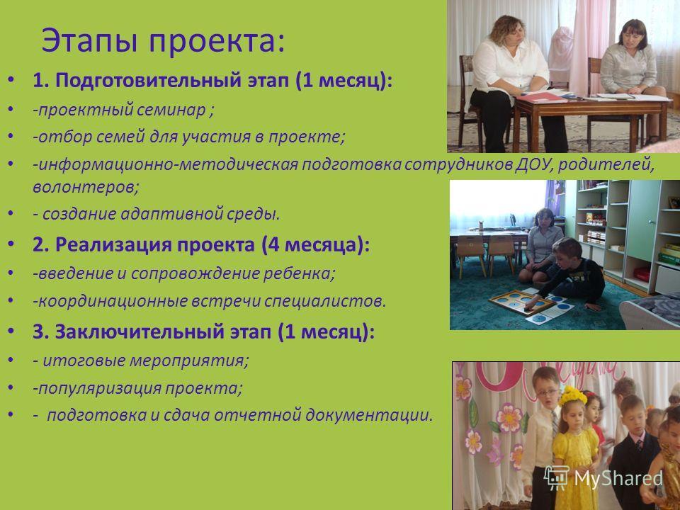 Этапы проекта: 1. Подготовительный этап (1 месяц): -проектный семинар ; -отбор семей для участия в проекте; -информационно-методическая подготовка сотрудников ДОУ, родителей, волонтеров; - создание адаптивной среды. 2. Реализация проекта (4 месяца):