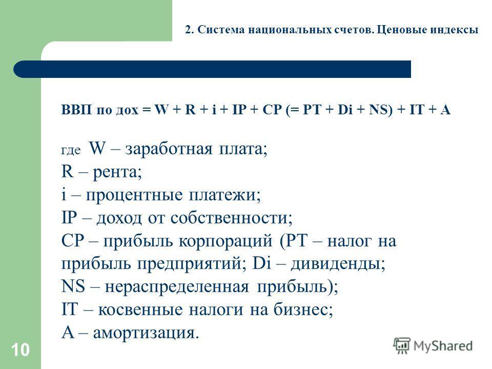 10 2. Система национальных счетов. Ценовые индексы ВВП по дох = W + R + i + IP + CP (= PT + Di + NS) + IT + A где W – заработная плата; R – рента; i – процентные платежи; IP – доход от собственности; CP – прибыль корпораций (PT – налог на прибыль пре