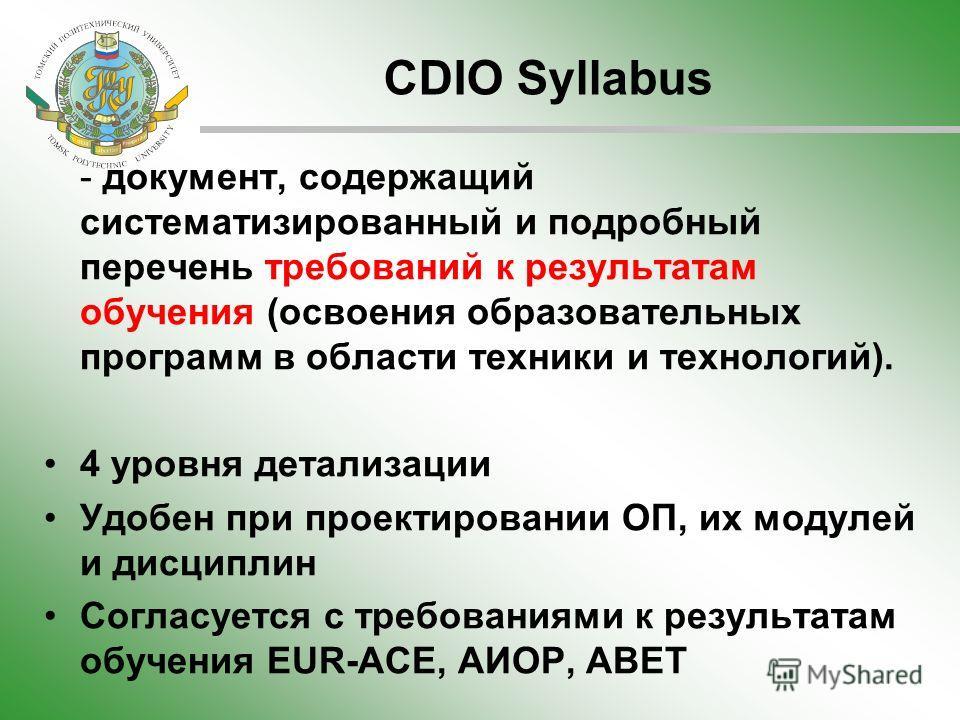 CDIO Syllabus - документ, содержащий систематизированный и подробный перечень требований к результатам обучения (освоения образовательных программ в области техники и технологий). 4 уровня детализации Удобен при проектировании ОП, их модулей и дисцип