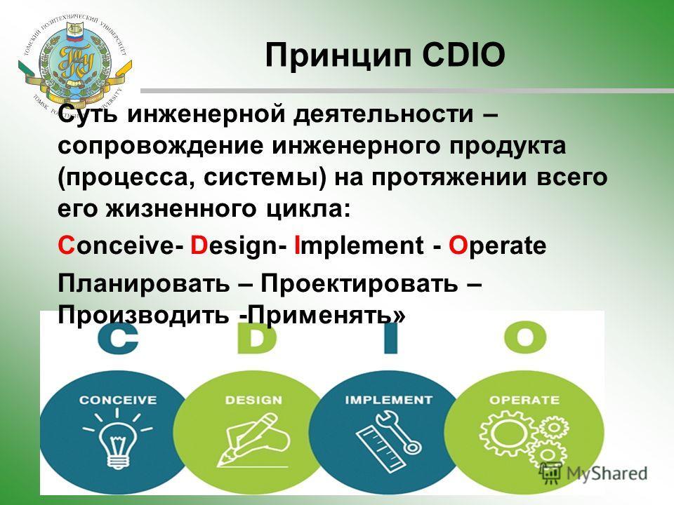 Принцип CDIO Суть инженерной деятельности – сопровождение инженерного продукта (процесса, системы) на протяжении всего его жизненного цикла: Conceive- Design- Implement - Operate Планировать – Проектировать – Производить -Применять»