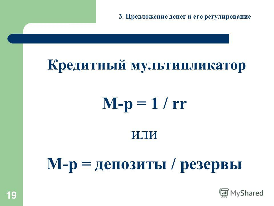19 3. Предложение денег и его регулирование Кредитный мультипликатор М-р = 1 / rr или М-р = депозиты / резервы