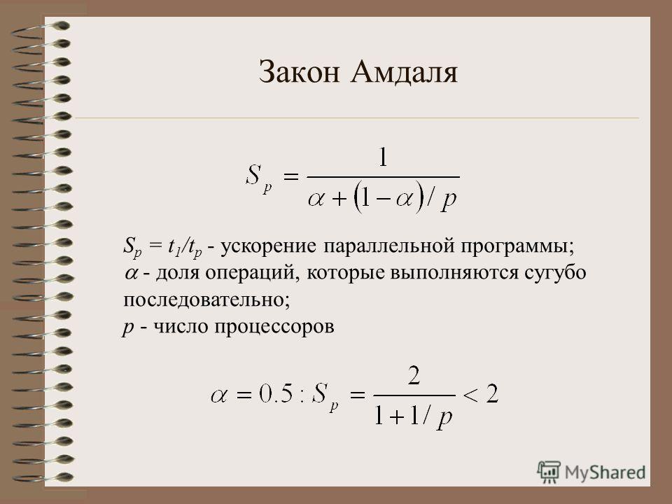 Закон Амдаля S p = t 1 /t p - ускорение параллельной программы; - доля операций, которые выполняются сугубо последовательно; p - число процессоров