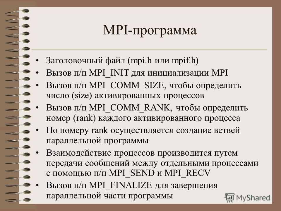 MPI-программа Заголовочный файл (mpi.h или mpif.h) Вызов п/п MPI_INIT для инициализации MPI Вызов п/п MPI_COMM_SIZE, чтобы определить число (size) активированных процессов Вызов п/п MPI_COMM_RANK, чтобы определить номер (rank) каждого активированного