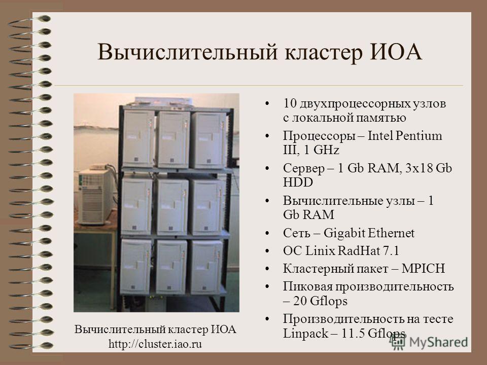 Вычислительный кластер ИОА 10 двухпроцессорных узлов с локальной памятью Процессоры – Intel Pentium III, 1 GHz Сервер – 1 Gb RAM, 3x18 Gb HDD Вычислительные узлы – 1 Gb RAM Сеть – Gigabit Ethernet ОС Linix RadHat 7.1 Кластерный пакет – MPICH Пиковая