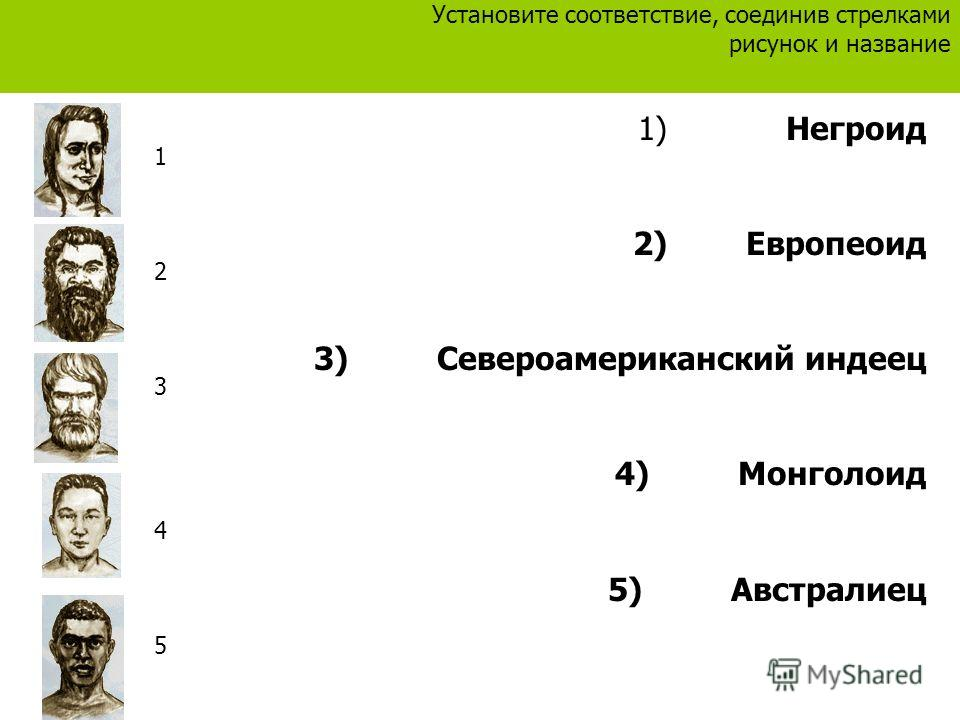 1) Негроид 2) Европеоид 3) Североамериканский индеец 4) Монголоид 5) Австралиец Установите соответствие, соединив стрелками рисунок и название 1234512345