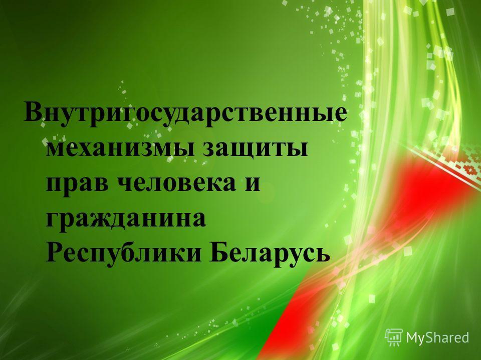 Внутригосударственные механизмы защиты прав человека и гражданина Республики Беларусь