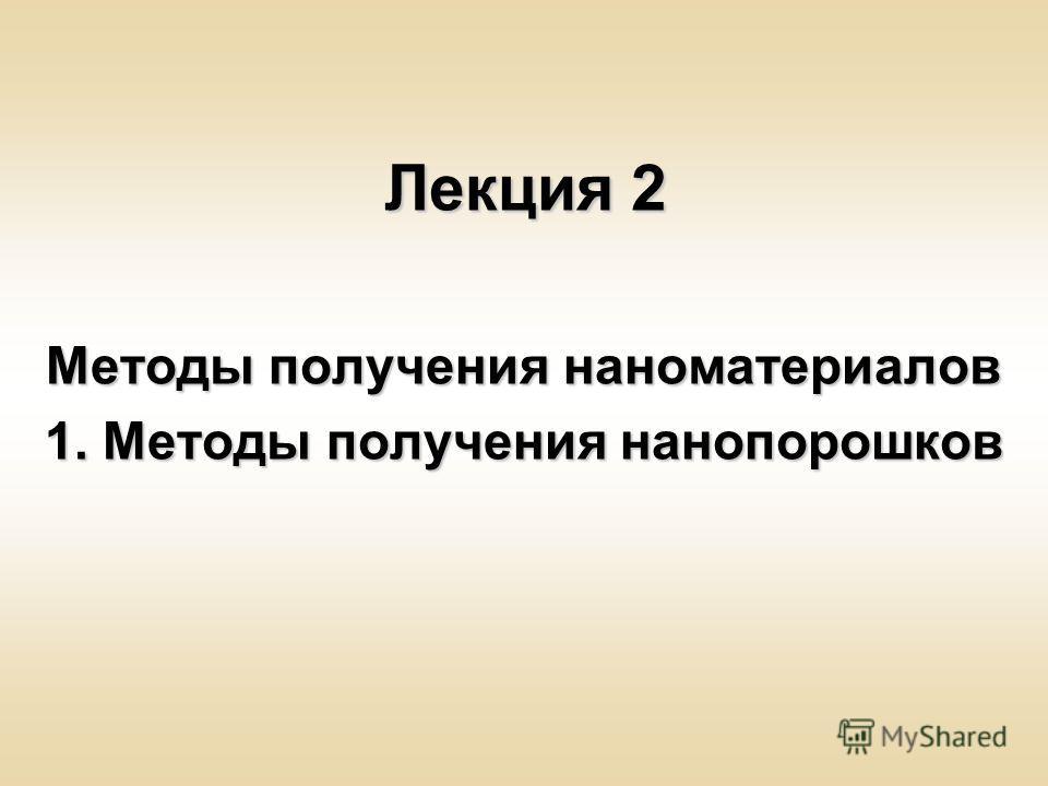 Лекция 2 Методы получения наноматериалов 1. Методы получения нанопорошков
