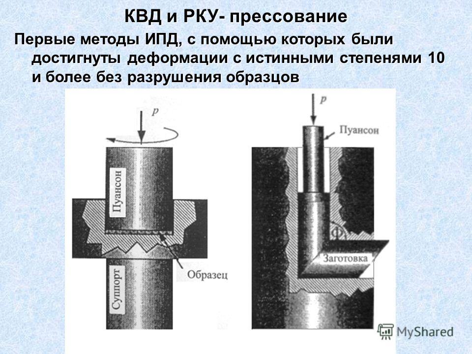 КВД и РКУ- прессование Первые методы ИПД, с помощью которых были достигнуты деформации с истинными степенями 10 и более без разрушения образцов