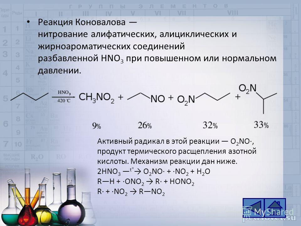 Реакция Коновалова нитрование алифатических, алициклических и жирноароматических соединений разбавленной НNО 3 при повышенном или нормальном давлении. Активный радикал в этой реакции O 2 NO·, продукт термического расщепления азотной кислоты. Механизм