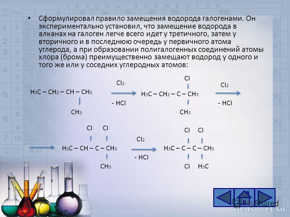 Сформулировал правило замещения водорода галогенами. Он экспериментально установил, что замещение водорода в алканах на галоген легче всего идет у третичного, затем у вторичного и в последнюю очередь у первичного атома углерода, а при образовании пол