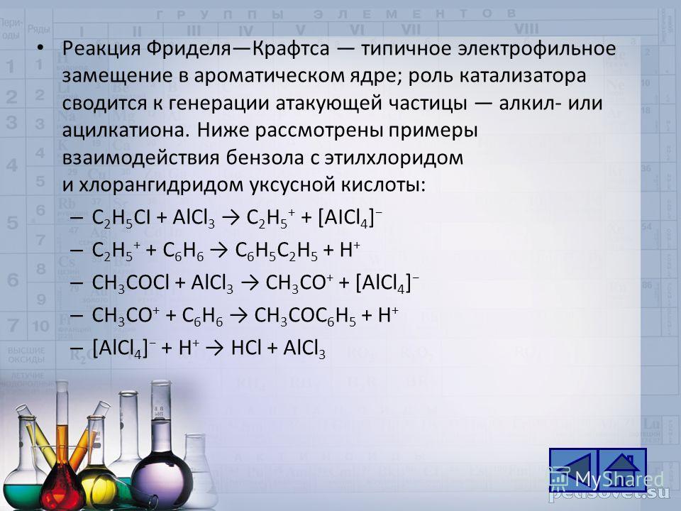Реакция ФриделяКрафтса типичное электрофильное замещение в ароматическом ядре; роль катализатора сводится к генерации атакующей частицы алкил- или ацилкатиона. Ниже рассмотрены примеры взаимодействия бензола с этилхлоридом и хлорангидридом уксусной к