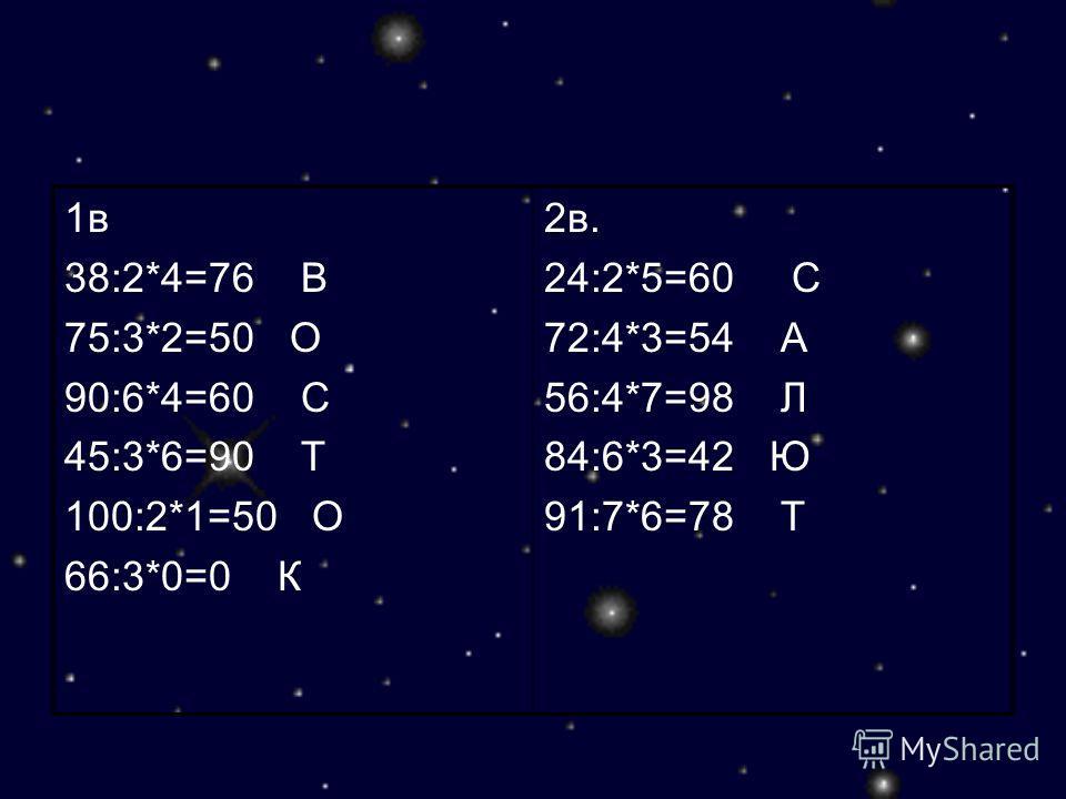 1в 38:2*4=76 В 75:3*2=50 О 90:6*4=60 С 45:3*6=90 Т 100:2*1=50 О 66:3*0=0 К 2в. 24:2*5=60 С 72:4*3=54 А 56:4*7=98 Л 84:6*3=42 Ю 91:7*6=78 Т