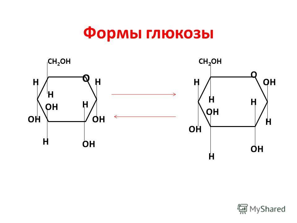 Формы глюкозы CH 2 OH O H OH H H H H CH 2 OH H OH H H H H O