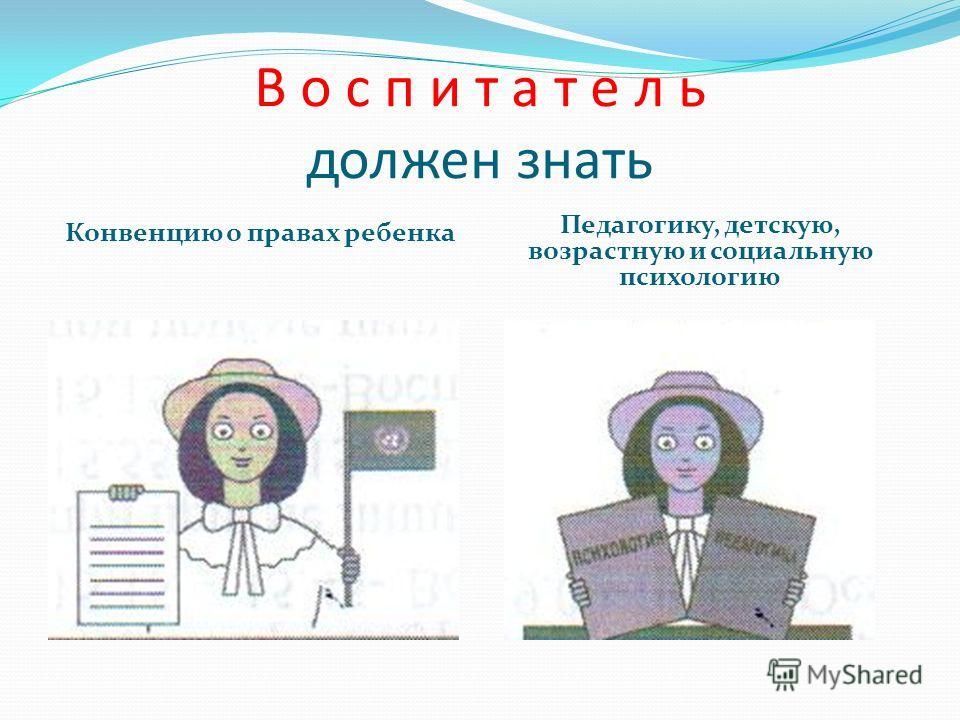 В о с п и т а т е л ь должен знать Конвенцию о правах ребенка Педагогику, детскую, возрастную и социальную психологию