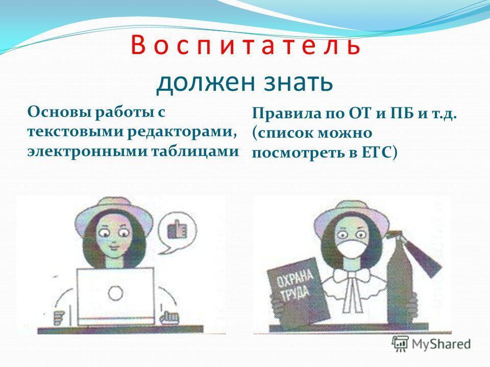 В о с п и т а т е л ь должен знать Основы работы с текстовыми редакторами, электронными таблицами Правила по ОТ и ПБ и т.д. (список можно посмотреть в ЕТС)